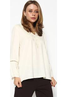 Blusa Com Bordado - Branca - Scalonscalon