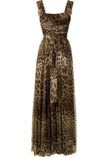 Dolce & Gabbana Vestido Longo De Seda Animal Print - Marrom