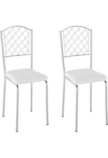 Conjunto Com 2 Cadeiras Susana Branco E Cromado