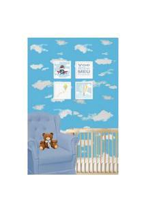 Papel De Parede Autoadesivo Azul Céu Com Nuvens Texturizado - Chi1367-5008 - Yins Home