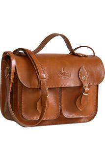 Bolsa Line Store Leather Satchel Pequena Pockets Couro Whisky Rústico. - Kanui