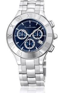 Relógio Jean Vernier 5Atm Feminino - Feminino-Prata+Azul