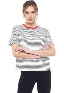 Camiseta Only Listrada Branca/Preta