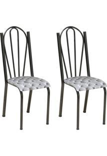 Conjunto 2 Cadeiras Mnemã³Sine Cromo Preto E Estampa Capitonãª