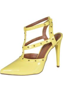 Scarpin Factor Fashion Spikes - Feminino-Amarelo