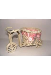 Cachepot Vaso Cesta Flores Rattan Bicicleta Triciclo Decoração Rosa