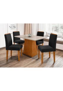 Conjunto De Mesa De Jantar Com Tampo De Vidro Jasmin E 4 Cadeiras Ana Ii Veludo Carrara E Preto