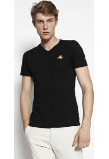 Camiseta Com Bordado- Preta & Amarelaclub Polo Collection