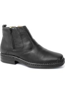 Botina Masculina Em Couro Ziper Anti-Stress Riber Shoes - Masculino