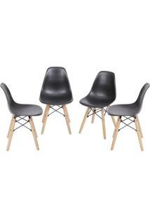 Jogo De Cadeiras Eames Dkr- Preta & Madeira Clara- 4Or Design