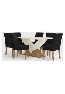 Conjunto Mesa Amora C/ 6 Cadeiras Freijó Off White/Suede Preto Kappesberg