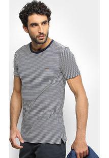 Camiseta Sommer Listrada Masculina - Masculino-Marinho+Branco