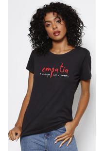 Camiseta Com Inscrição- Preta & Vermelhaforum