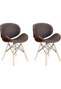 Conjunto Com 2 Cadeiras Bergen Eiffel Base Madeira Marrom