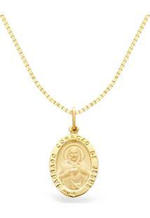 Pingente Sagrado Coração De Jesus Ouro Amarelo 25 Mm