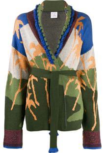 Stella Jean Cardigan De Tricô Com Padronagem - Verde