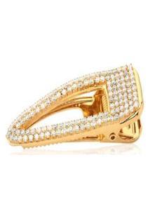 Presilha Le Diamond Bico De Pato C/12 Zircônias Dourado