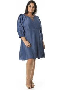 Vestido Jeans Confidencial Extra Plus Size Evasê Feminino - Feminino-Azul