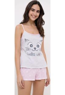 Pijama De Alcinha Estampa Gatinho Hello Cute