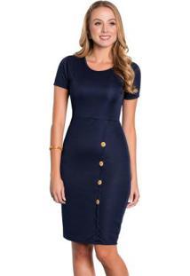 Vestido Marinho Com Botões Moda Evangélica