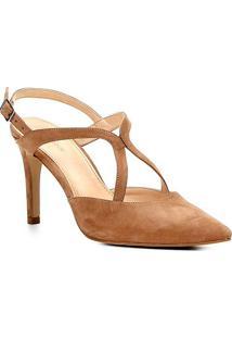 Scarpin Couro Shoestock Salto Alto Curvas - Feminino-Nude