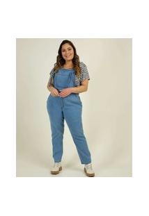 Macacão Plus Size Feminino Jeans Amarração