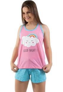 Pijama Baby Doll 4 Estações Nuvem Verão Feminino - Feminino-Rosa