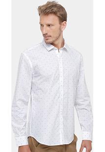Camisa Ellus 2Nd Floor Maquinetado Masculina - Masculino-Branco