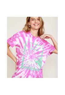 Blusa Feminina Signo Leão Estampada Tie Dye Manga Curta Decote Redondo Pink