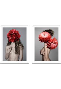 Quadro 67X100Cm Freya Mulher Com Flores Vermelhas Nórdico Moldura Branca Com Vidro