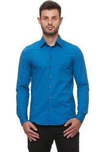 Camisa Fit Zaiko Tingimento Poá Manga Longa Masculina - Masculino-Azul