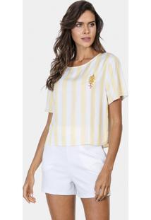 Blusa Cropped Com Bordado Tecido Amarelo Limonada - Lez A Lez