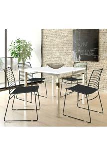 Mesa 1525 Branca Cromada Com 4 Cadeiras 1712 Color Uv Preta Carraro
