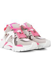 Tênis Zatz Chunky Neon Recortes Feminino - Feminino-Cinza+Pink