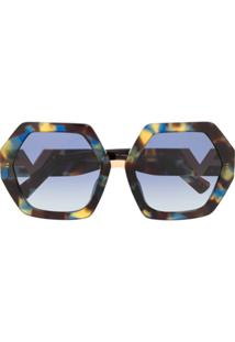 Valentino Eyewear Óculos De Sol Oversized Com Logo - Marrom