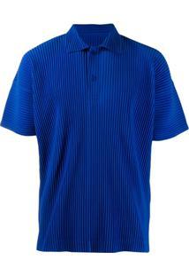 Homme Plissé Issey Miyake Camisa Polo Com Pregas - Azul