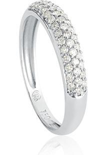 Anel De Ouro Branco 18K Pavê De Diamantes-Coleção Pavês Amare