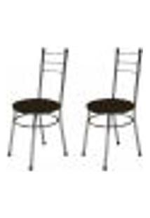 Kit 2 Cadeiras Baixas 0.236 Redonda Cromado/Marrom Escuro - Marcheli