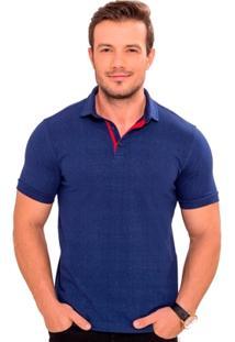 Camiseta Polo Azul Marinho Estampado - Masculino