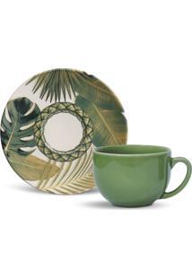 Conjunto 12Pçs Xícaras De Chá Porto Brasil Coup Foliage Branco/Verde