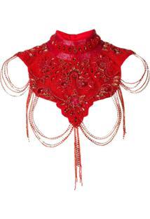 Atu Body Couture Calça Cropped Com Contas - Vermelho