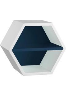 Nicho Hexagonal Favo Ii Com Prateleira Branco Com Azul Noite