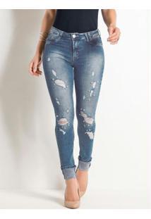 Calça Cigarrete Sawary Jeans Destoyed Com Pérola