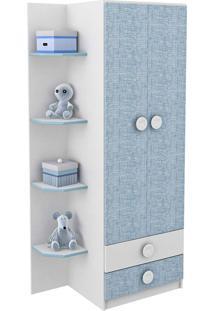 Guarda-Roupa Arco-Íris Branco E Azul Rodial Móveis