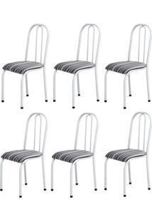 Cadeira Assento Anatomico 6 Peças 00104 Branco Listrado Archeli