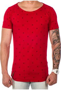 Camiseta Lucas Lunny Oversized Longline Estampa Vermelha Carac