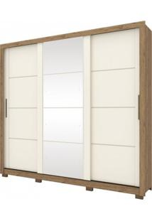 Guarda Roupa Henn Payson 03 Portas Deslizantes C/ 01 Espelho Rústico/Off White