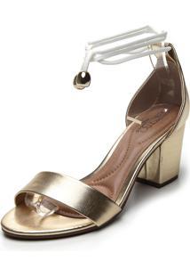 Sandália Beira Rio Metalizada Dourada