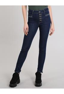 Calça Jeans Feminina Sawary Super Skinny Azul Escuro
