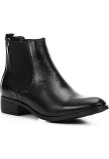 Bota Chelsea Shoestock Elástico Couro Feminina - Feminino-Preto